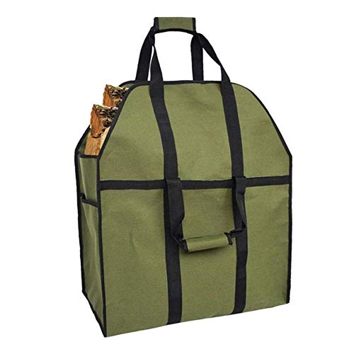 GJJSZ Bolsa de Registro portátil 600D Oxford Cloth Chimenea Log Carrier Heavy Duty Durable Leña Bolsa Tote Holder (Color:Army Green)