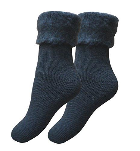 Qano 2 Paar Mega-Thermo Socken 43-46 anthrazitmelange
