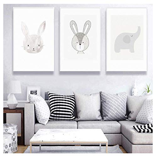 Generic Minimaliste Animal Cartoon Animal Lapin Toile Peinture Murale Murale pour Chambre Bébé Fille Nursery