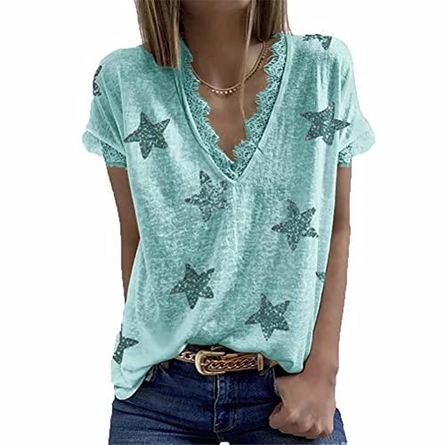 LYAZFC Top de Camiseta de Encaje con Estampado de Cuello en V Multicolor de Verano para Mujer