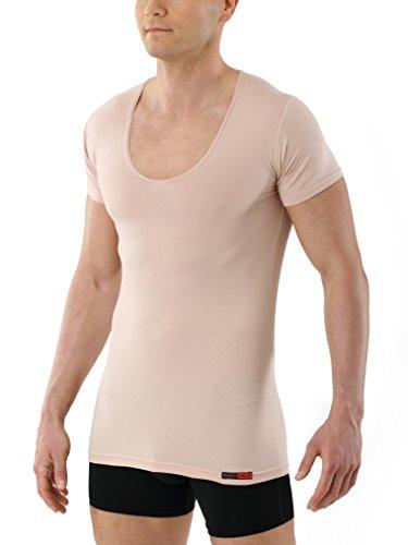 ALBERT KREUZ Camiseta Interior Invisible Color Carne/Beis de Manga Corta con Cuello de Pico Profundo y de algodón elástico 05/M