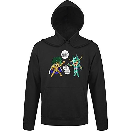OKIWOKI sweatshirt met capuchon, zwart, Saint Seiya, parodisch, Shura, gouden ridder, steenbok en Shiryu van de drak: J't'AI gebroken da (Parodie Saint Seiya)