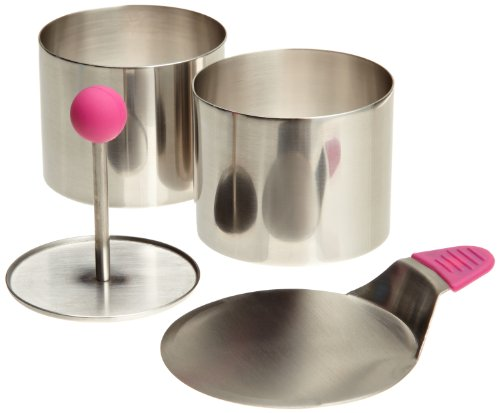 Ateco Round Food Molding Set, 2.75 by 2.1-Inches High, 4-Piece Set Includes 2 Rings, Fitted Press & Transfer Plate