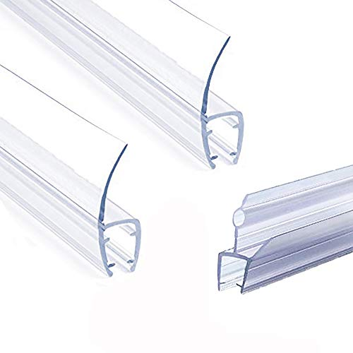 Frameless Shower Door Seal Strip, Weather Stripping Seal Sweep with Drip Rail for 3/8-Inch Glass, 39'Length J+ 2PCS x 39' Length H-Type (3/8' Glass)