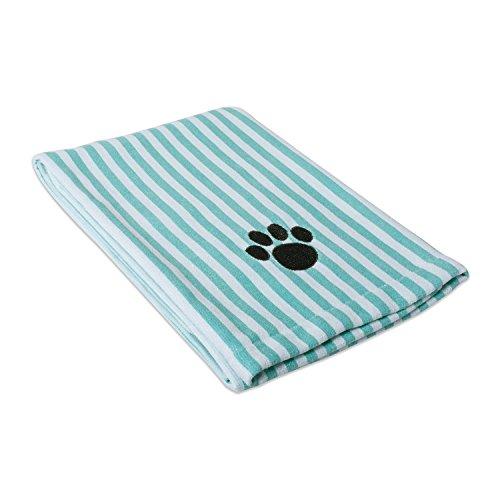 Bone Dry Embroidered Pet Towel, 44 x 27.5', Striped Aqua