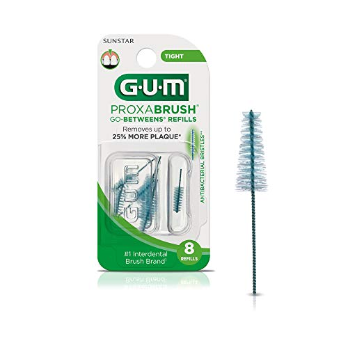 GUM - 10070942064122 Proxabrush Go-Betweens Interdental Brush Refills, Tight, 8 Count (Pack of 6)