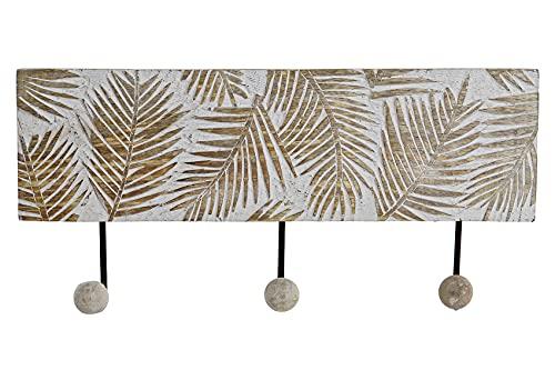 MULOKOS Perchero de pared 3 colgadores,Madera de mango tallada. Perchero estilo neoclásico en Blanco decapé.Medidas 38X7X18.Colgador de Pared blanco 3 ganchos