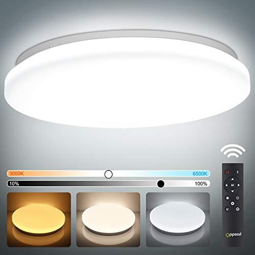 LED Deckenleuchte Dimmbar, 40W 3700LM OPPEARL Rund Deckenlampe Dimmbar mit Fernbedinung für Wohnzimmer Schlafzimmer Kinderzimmer Büro Esszimmer Küche Balkon 3000K-6500K Ø33cm