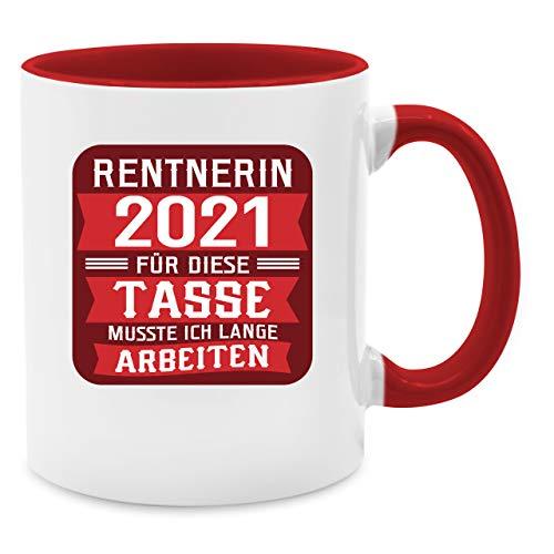 Shirtracer Rentner Geschenk Tasse - Rentnerin 2021 - rot - Unisize - Rot - Tasse für Rentnerin - Q9061 - Kaffee-Tasse inkl. Geschenk-Verpackung