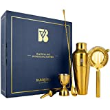 Barquire London Cocktail Making Set – Complete Mixology Tool Kit – Gold Mirror Polish Cocktail Shaker Set –– Parisian Shaker, Mixing Spoon, Hawthorne Strainer, Jigger & More – with Cocktail Booklet