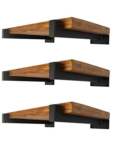 6 Pcs Floating Shelf Brackets 6 Inch Heavy Duty Wall Mounted Industrial Metal Shelving Supports with Lip