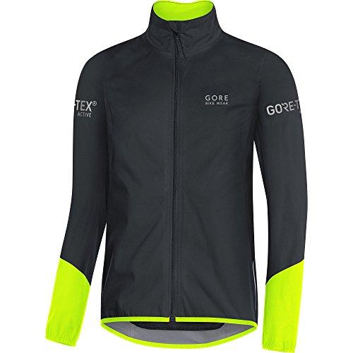 GORE BIKE WEAR, Chaqueta para ciclismo en carretera, Hombre, GORE TEX Active, POWER Jacket, Talla XL, Negro/Amarillo neón, JGTPOW