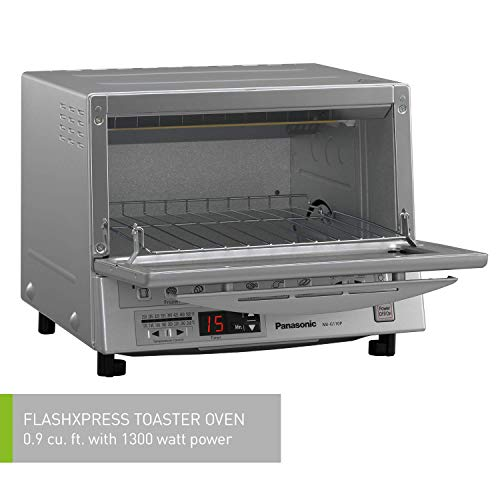 Panasonic FlashXpress Compact Toaster Oven with Double Infrared Heating, Crumb Tray and 1300 Watts of Cooking Power - 4 Slice Countertop Toaster Oven - NB-G110P (Stainless Steel)