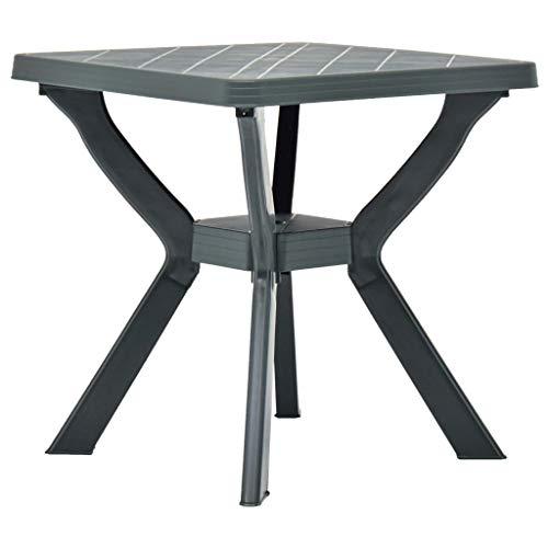 pedkit Mesa de Jardín Bistró de Plástico con Estante de Almacenaje Mesas de Comedor de Patio Terraza Verde 70x70x72 cm