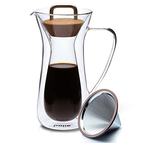 Double Wall Pour Over Coffee Maker With Stainless Steel...
