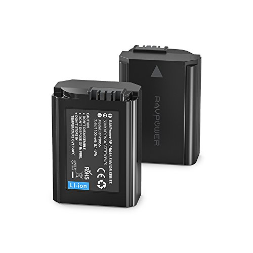 NP-FW50 RAVPower 2-Pack Camera Battery Compatible with Sony A6000 Battery A6500 A6300 A6400 A7 A7II A7RII A7SII A7S A7S2 A7R A7R2 A55 A5100 RX10 Accessories, Black