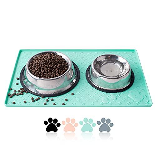Coomazy Tappetini sottociotola per Cani e Gatti, Ciotole Vassoio di Posizionamento Antiscivolo Impermeabile in Silicone per Animali Domestici per prevenire fuoriuscite di Cibo(M: 48x30cm, Verde)