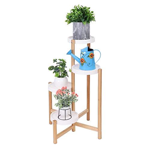 Unho Supporto per Fiori in bambù a 4 livelli, fioriera da interno Scaffale per Fiori 4 livelli Porta Piante per Interni vaso per piante da esterno supporto per piante 22x80cm per casa patio giardino