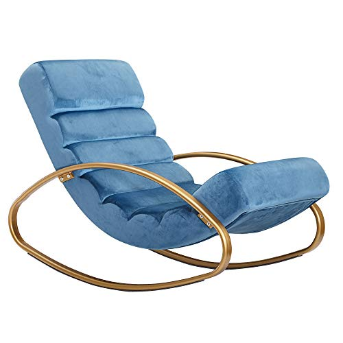 FineBuy Relaxliege Samt Blau/Gold 110 kg Belastbar Relaxsessel 61x81x111 cm | Design Schaukelstuhl Innenbereich | Schwingstuhl Lounge Liege Modern