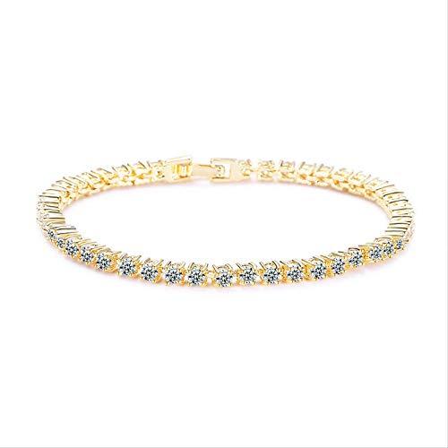 HMANE Oro Plata Color 3mm cúbica Zirconia 18cm Pulsera de esclava de Tenis para Mujeres Boda Moda joyería de Regalo de Lujo