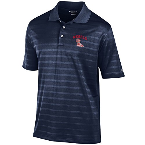 NCAA Champion Men's Textured Solid Polo, Ole Miss Rebels, Small