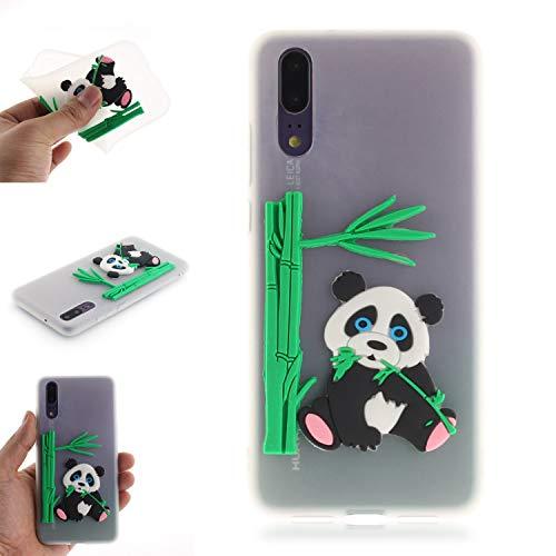 JCKHM Hülle kompatibel mit Huawei P20 Hülle Silikon,Panda isst Bambus-TPU-Schale Hülle Silikon Liquid Silikon Ultra dünn Komplettschutz,Anti-fall Etui Weich stoßfest,Durchscheinend,EINWEG packet