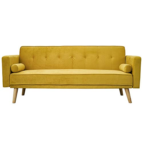 Panana Modern 3 Seater Sofa Bed Faux Suede Fabric Sofa Couch Settee Click Clack Recliner Sleeper with 2 Free Cushions for Living Room Guest Room Office (Yellow)