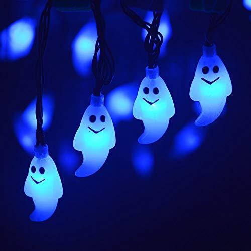 AchidistviQ Halloween Lichter Im Freien Halloween Lichter, Halloween 30LED Solarbetriebene Ghost Lampe Licht Garten Pathway Tree Decor Für Halloween Dekorationen Outdoor Indoor Party Blau