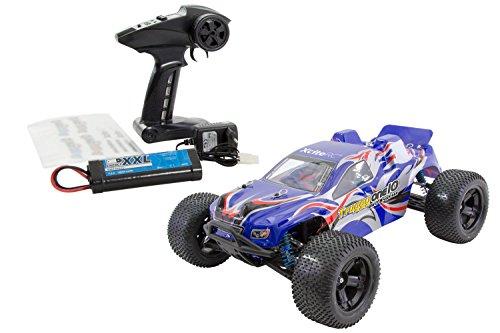 XciteRC 30341000 - ferngesteuertes RC Auto One10 Truggy 4WD Brushless, blau