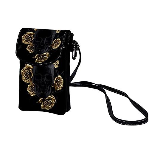 Xingruyun Bolso Bandolera para Celular Pequeño Cráneo de rosa de oro negro Mini Billetera Multifunción Monedero Puede Caber Gafas de sol Teléfono móvil 19x12x2cm