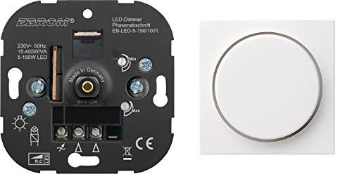 5 Jahre Garantie! EBROM® Unterputz LED Dimmer Drehdimmer + GIRA Dimmerabdeckung 065003 reinweiß glänzend, Phasenabschnitt, für LED 5-150 Watt + dimmbare Halogen etc. 15-400 W/VA