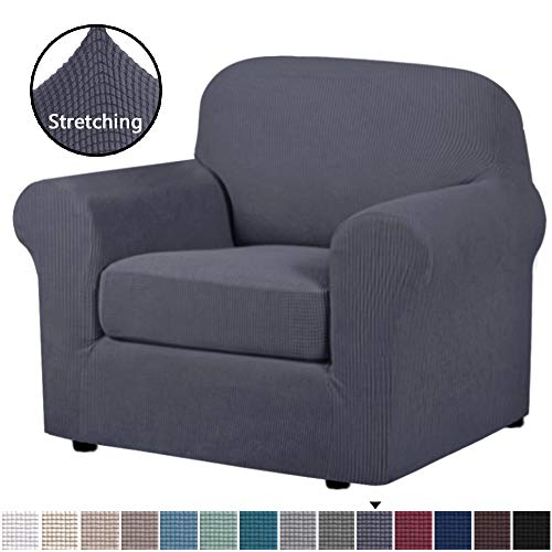 H.VERSAILTEX Chair Covers 2 Pieces Arm Chair Slipcover Furniture Protector Arm Chair Covers for Living Room, Rich Textured Lycra High Spandex Small Checks Knitted Jacquard (Chair, Charcoal Gray)
