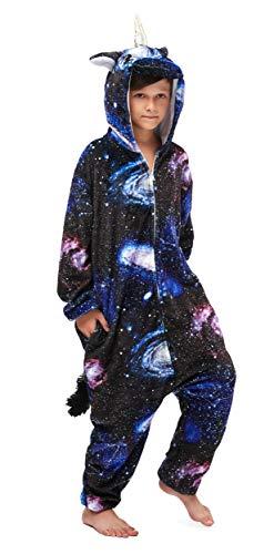 FunnyCos Unisex Kinder Einteiler mit Kapuze, superweiches Flanell, Kostüm, Pyjama, Kostüm, Spielanzug, Jumpsuit Gr. 140 cm (Höhe 130/140 cm), Universum Pegasus