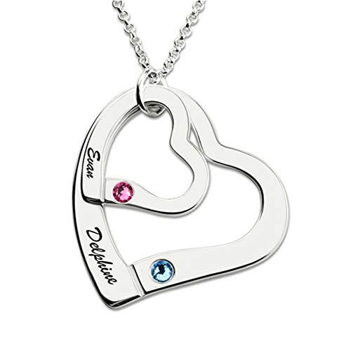 Namenskette Herz 925 Sterling Silber mit Zwei Wunschnamen und Geburtsstein, Herz Kette Silber/Rosegold/Gold mit Gravur zum Muttertagsgeschenk (Silber,55cm)