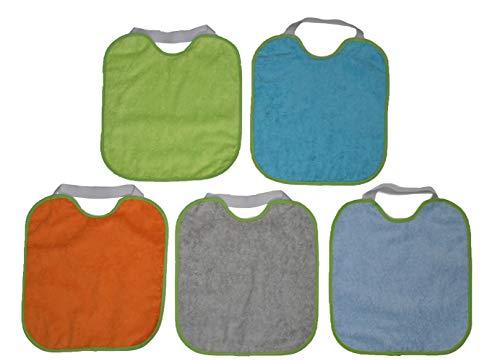 beybi Confezione bavaglino impermeabile per asilo in spugna 100% cotone PVC impermeabile, Confezione da 1,