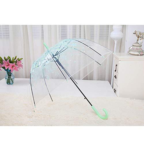 DONGMIAN - Paraguas romántico transparente con forma de cúpula de burbuja semiautomática para el viento y la lluvia pesada verde