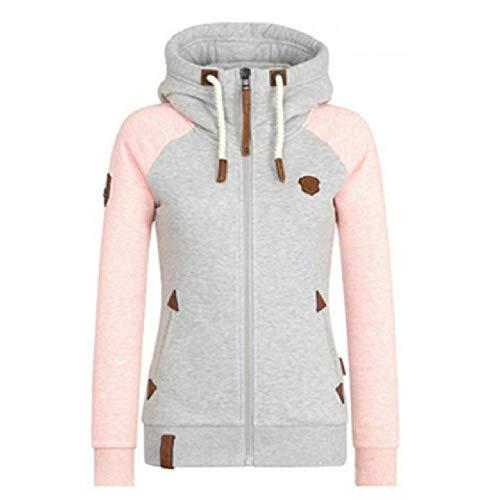 Sudadera con capucha para mujer, cuello con cremallera, de manga larga, sudaderas con capucha Rosa rosa XL