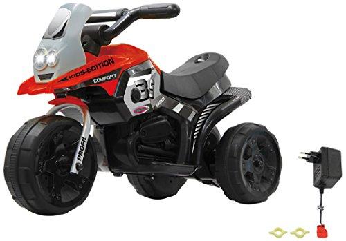 Jamara 460227 – Ride-on E-Trike Racer rood – 6 V accu, elektrische driewieler met extra sterke borstelmotor, stalen achteras, stalen voorvork, led-koplamp, muziek, ca. 1 uur. Rittijd.