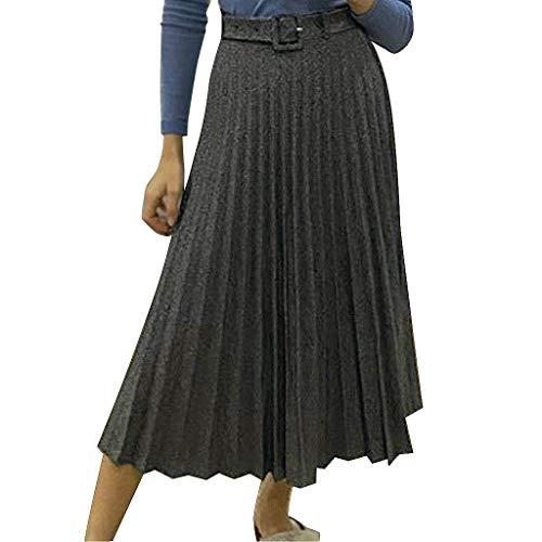 Brizz Sneakers voor dames, losse solide hoge taille, A-lijn, rok vergelaagde plooirok voor dames, toprok, lente hoog, elastisch, elegant