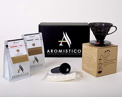 AROMISTICO Coffee Gift Set with Hario V60 Drip Coffee Maker (Ground - 1 x Napoli Dark Roast and 1 x Roma Medium Roast Blend + Hario V60 DRIPPER - Brewer Gift Set)