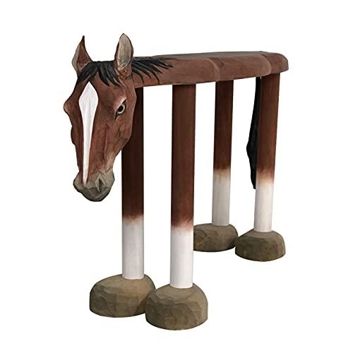 DUTUI Simulazione Sgabello A Forma di Cavallo Sedia A Forma di Animale, Legno Massello Intagliato A Mano, Mobili Creativi per Sgabello Cambio Scarpe