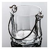 cubiteras para Hielo Crystal Glass Restaurant Champagne Ice Bucket Bar Cerveza Cerveza Cóctel Manija Hi Enfriador de Botellas de Vino (Color : Clear)