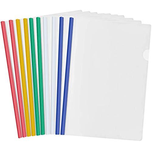 10 Hojas Plástico A4 Cubierta de Encuadernación de Informes, Transparente Carpeta de Archivos con Barra Deslizante para Casa Escuela Oficina Documentos Clasificación (5 Colores)