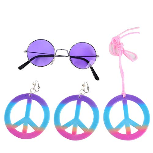 thematys 60er & 70er Jahre Peace Hippie Set 3-teilig - Brille, Ohrringe und Kette - Kostüm Set für Erwachsene perfektes Accessoire für Fasching, Karneval & Cosplay