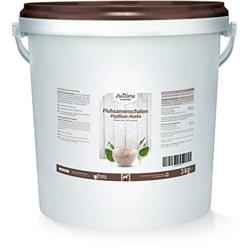 AniForte Indische Flohsamenschalen für Pferde 3kg - Reich an Ballaststoffen & Schleimstoffen, Indische Flohsamen in Rohkost Qualität, Einzelfuttermittel im Sparpack