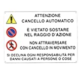 CARTELLO CANCELLO AUTOMATICO 30x 20 ALLUMINIO [TARGOTIMBRI ]