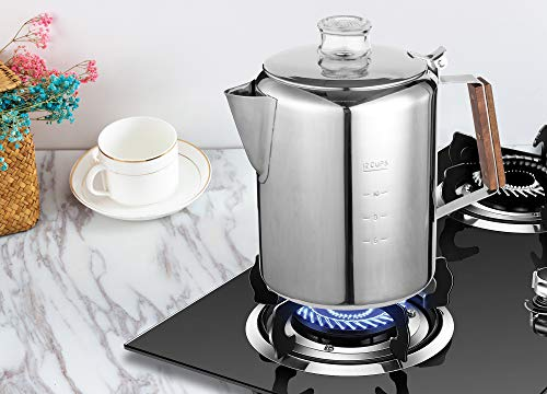 TOPS 55705 Rapid Brew Stainless Steel Stovetop Coffee Percolator, 12-Cup