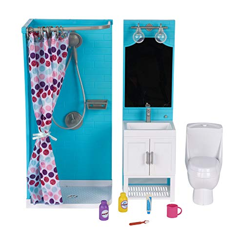 My Life As 17pc Bathroom Play Set with Shower and Light-up Vanity for 18' Dolls