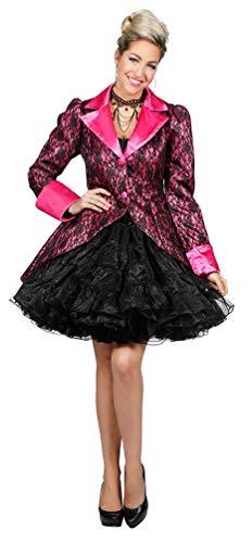 Karneval-Klamotten Jacke Karneval Damen Barock pink mit schwarzer Spitze
