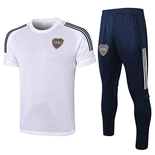 HSSE Boca Juniors 20-21 Traje de Entrenamiento de fútbol, chándal de fútbol de Verano para Adultos, Camiseta de Juego de fútbol Transpirable, Regalo Deportivo L